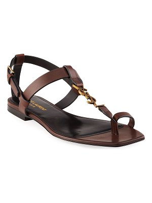Saint Laurent Cassandra Toe-Ring YSL Flat Sandals