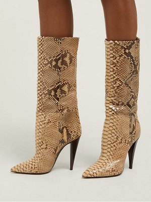 Saint Laurent charlotte point toe python boots