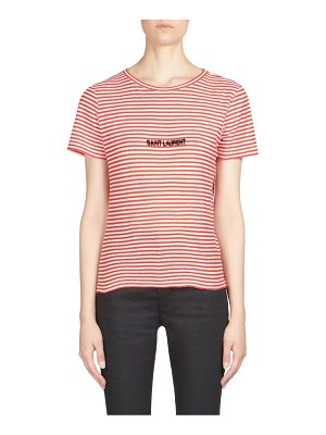 SAINT LAURENT Cotton Striped Logo Tee
