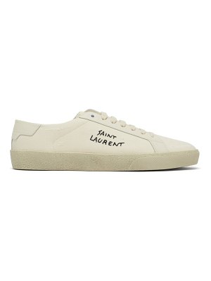 Saint Laurent court logo-embroidered distressed canvas trainers