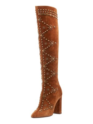 Saint Laurent Ella Studded Suede Knee Boot
