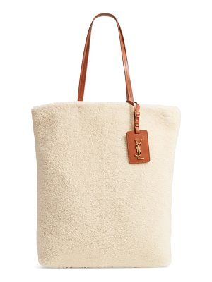 Saint Laurent genuine shearling shopping tote