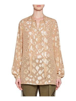 SAINT LAURENT Georgette Floral Button-Up Blouse