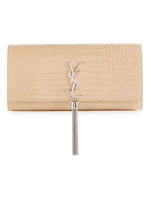 Saint Laurent Kate Monogram YSL Tassel Faux-Crocodile Clutch Bag