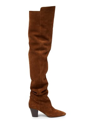 Saint Laurent sun point-toe over-the-knee suede boots