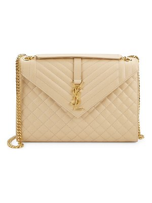Saint Laurent largeenvelope monogram matelassé leather shoulder bag