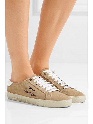 Saint Laurent leather-trimmed logo-embroidered suede sneakers