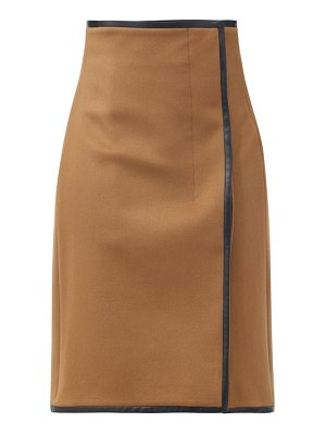 Saint Laurent leather-trimmed wool-blend midi skirt