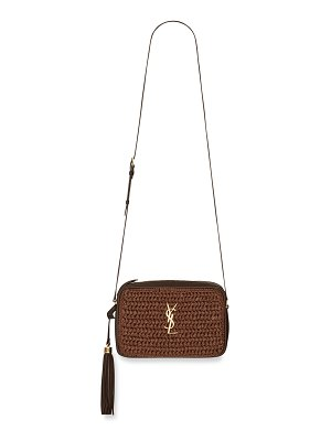 Saint Laurent Lou Medium YSL Monogram Raffia Camera Bag