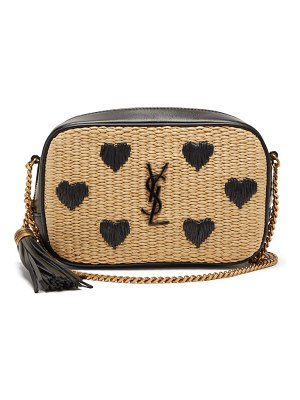 Saint Laurent lou mini heart-embroidered raffia cross-body bag