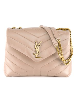 Saint Laurent Loulou Monogram YSL Small V-Flap Chain Shoulder Bag - Lt. Bronze Hardware