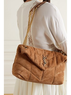 Saint Laurent loulou puffer small quilted suede shoulder bag