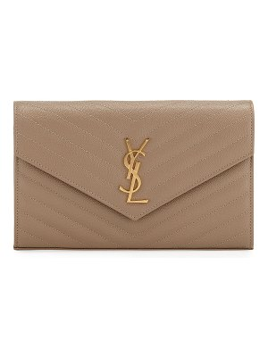 Saint Laurent Matelasse Monogram YSL Wallet on Chain
