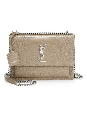 Saint Laurent medium sunset monogram croc-embossed leather chain shoulder bag