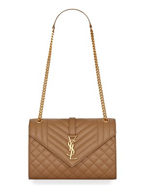 Saint Laurent Medium Tri-Quilted Matelasse Grain de Poudre Flap Shoulder Bag