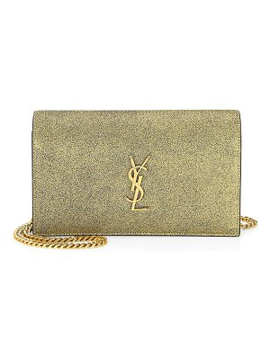 Saint Laurent metallic cracked leather wallet on chain