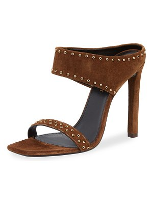 Saint Laurent Mica Studded Suede High-Heel Sandals