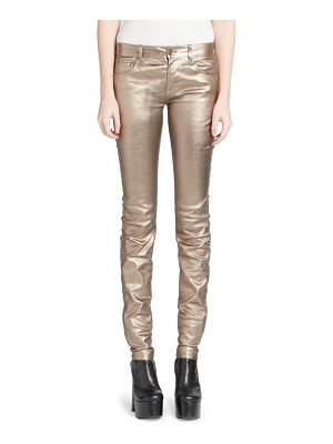 Saint Laurent mid rise metallic leather pants
