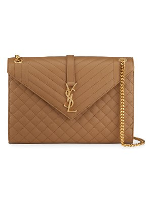 Saint Laurent Monogram YSL V-Flap Large Tri-Quilt Envelope Chain Shoulder Bag - Golden Hardware
