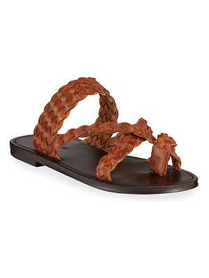Saint Laurent Neil Braided Leather Flat Sandals