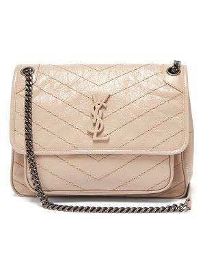 Saint Laurent niki chevron quilted crinkle effect leather bag