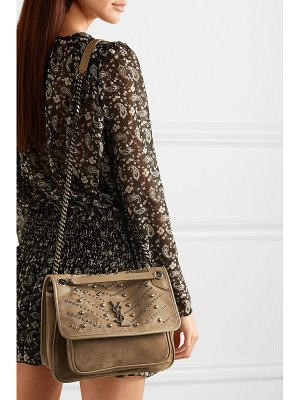 Saint Laurent niki embellished suede shoulder bag