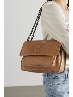 Saint Laurent niki medium quilted crinkled-leather shoulder bag