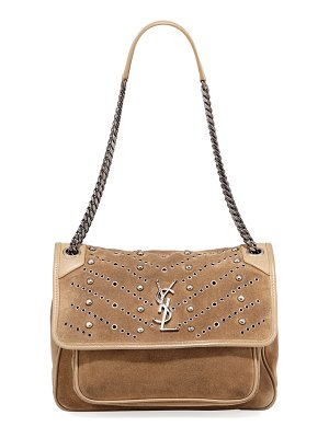 Saint Laurent Niki Monogram YSL Medium Suede Shoulder Bag