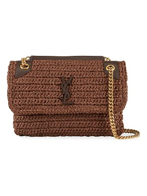 Saint Laurent Niki YSL Monogram Medium Crocheted Shoulder Bag