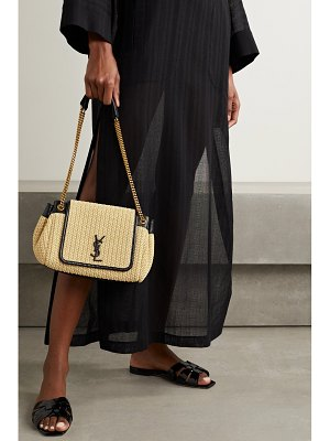 Saint Laurent nolita small leather-trimmed raffia shoulder bag