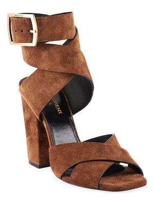 Saint Laurent Oak Suede Buckle Sandals