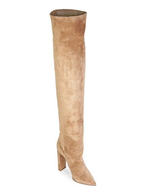 Saint Laurent point toe suede over-the-knee boots