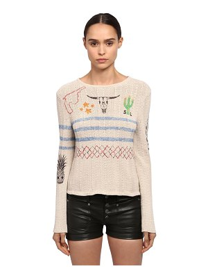 Saint Laurent Printed cactus cotton knit sweater