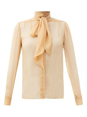 Saint Laurent pussy-bow gathered silk-georgette blouse