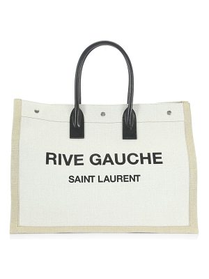 SAINT LAURENT Rive Gauche Linen Tote Bag