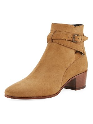 Saint Laurent Rock Blake Suede Ankle-Wrap Bootie