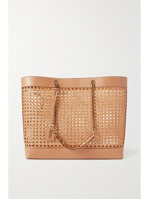 Saint Laurent shopping leather-trimmed straw tote