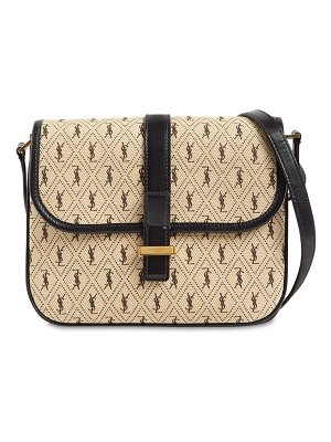 Saint Laurent Sm logo printed cotton satchel bag