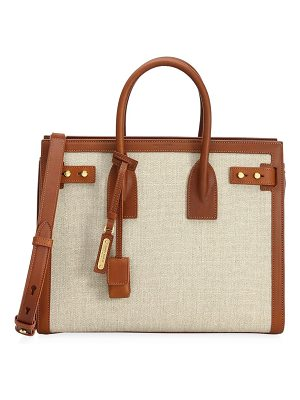 Saint Laurent small canvas & tan sac de jour tote
