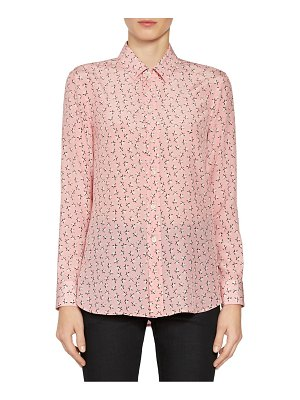 Saint Laurent star print silk button down blouse