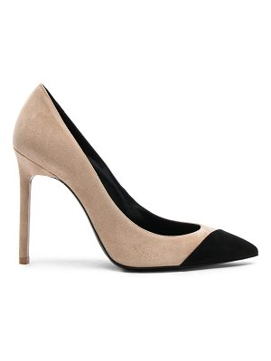 Saint Laurent Suede Anja Cap Toe Pumps