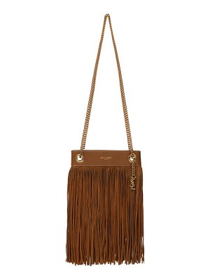 Saint Laurent suede-fringed leather shoulder bag