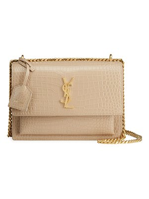 Saint Laurent Sunset Medium Croc-Embossed Crossbody Bag