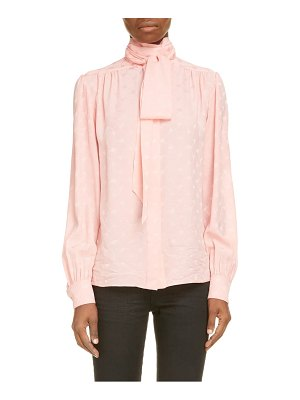 Saint Laurent tie neck print silk blouse