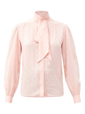 Saint Laurent tie-neck silk-jacquard blouse