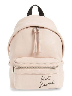 Saint Laurent toy embroidered logo leather backpack