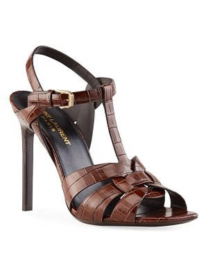 Saint Laurent Tribute 105mm Mock-Croc Stiletto Sandals
