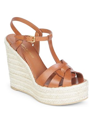 Saint Laurent tribute leather espadrille wedge sandals