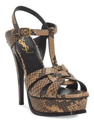 Saint Laurent tribute snakeskin embossed leather platform sandals