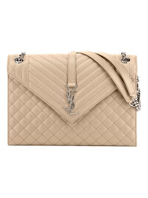 SAINT LAURENT V-Flap Large Tri-Quilt Envelope Chain Shoulder Bag